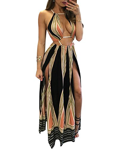 BIUBIU Women's Boho Floral Halter Summer Beach Party Split Cover Up Dress - MY SEXY STYLES