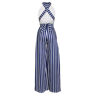 LUZ STRIPE HIGH NECK FLARED WIDE LEG JUMPSUIT WITH GOLD BELT - BLUE - MY SEXY STYLES