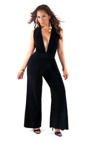 Sexy V-Neck Sleeveless Jumpsuit in Black - MY SEXY STYLES