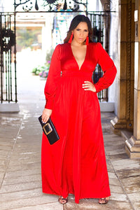 Goddess Goddess V Neck Satin Puff Sleeves Red Maxi Dress