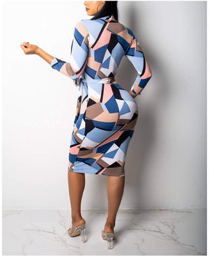 Pauline Blue Colorblock Print Quarter Sleeves Bodycon Dress