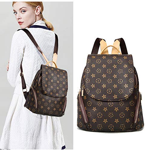 Fashion Leather Backpack Casual Purse for Women, Designer PU Shoulder Bag Handbags Travel Purse
