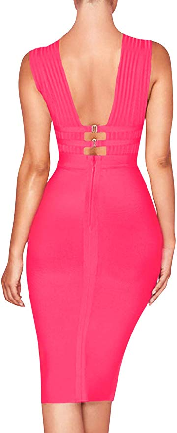 Palmer Sexy Deep V Plunge Sleeveless Cut Out Bodycon Bandage Cocktail Party Dress