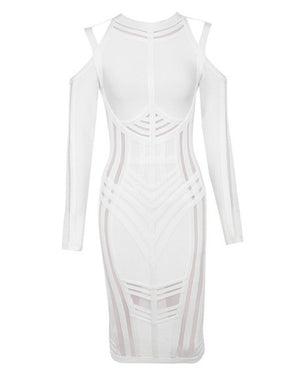 whoinshop Women's Celebrity Long Sleeve Cold Shoulder Cocktail Party Bandage Midi Dress (XS, White)