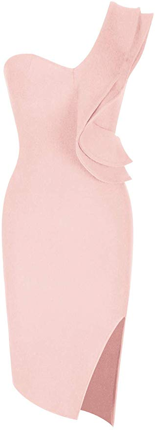Aitana One Shoulder Sleeveless Knee Length Side Split Fashion Bandage Dress