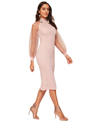 Bethany Mock Neck Mesh Long Sleeves Midi Dress in Misty Rose