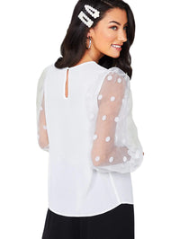 Aylin Polka Dot Mesh Lantern Sleeve Sheer Blouse