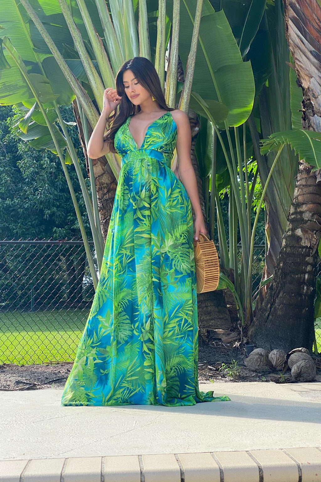 Vanity Tropical Print Sexy V-Neck Maxi Dress
