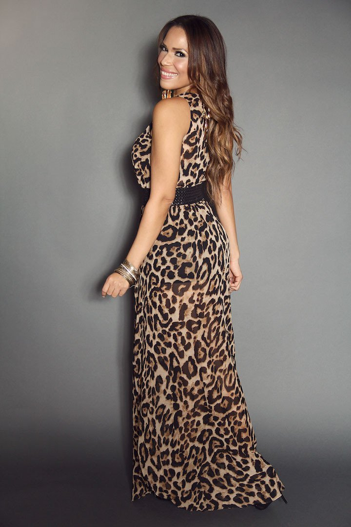 Fierce Leopard Print Sleeveless Double High Slit Stylish Dress (Includes Black Shorts & Fashion Belt Attached) - MY SEXY STYLES