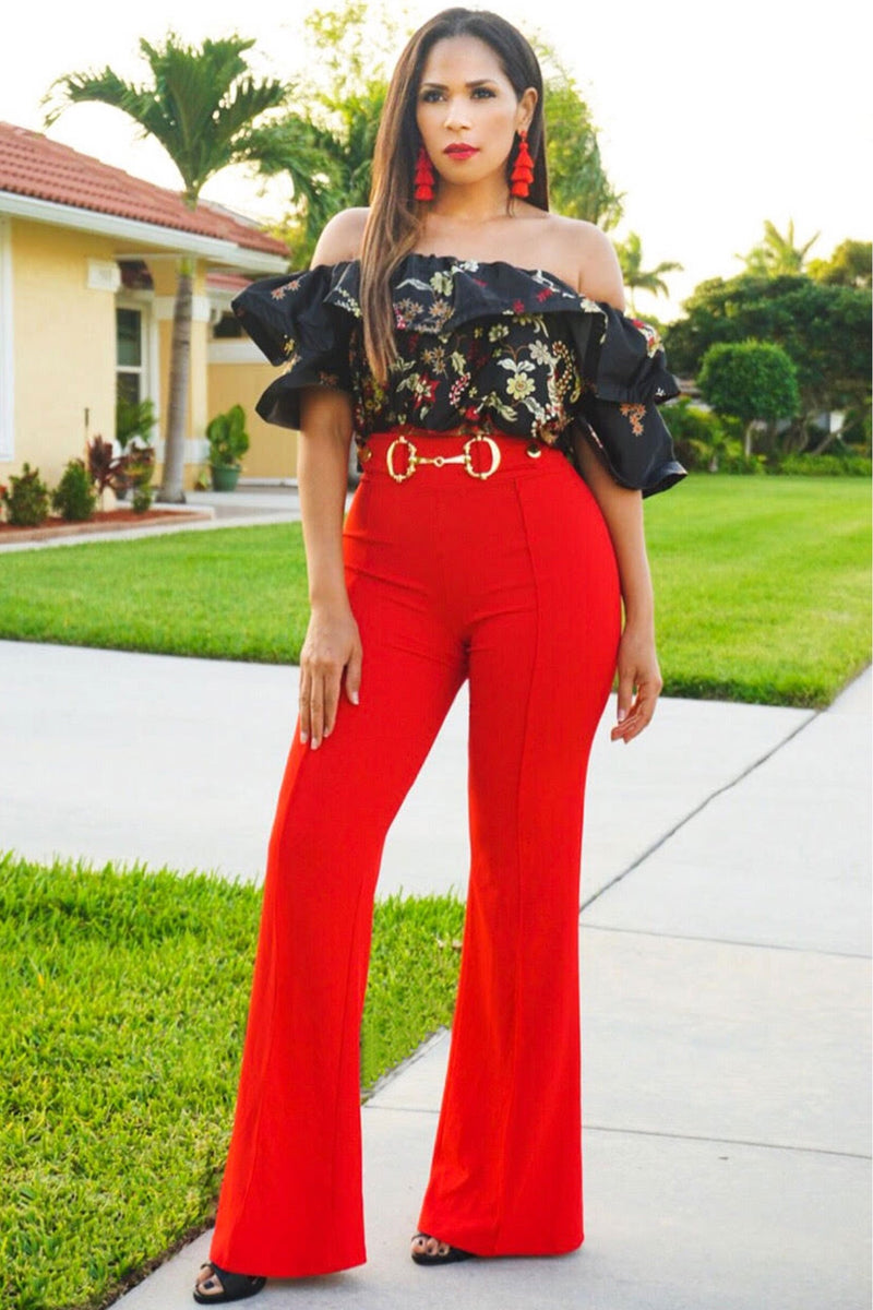 Eleanor Hoop Buckle High Waist Pants - Red - MY SEXY STYLES