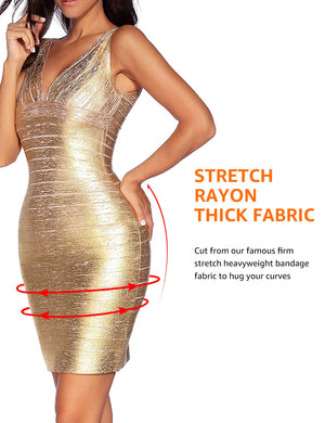 Frances Sexy V-Neck Foil Bandage Dress