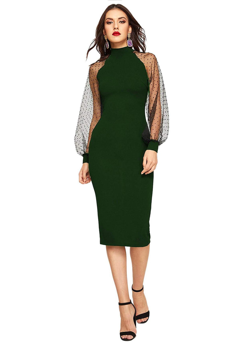 Bethany Mock Neck Mesh Long Sleeves Midi Dress in Green