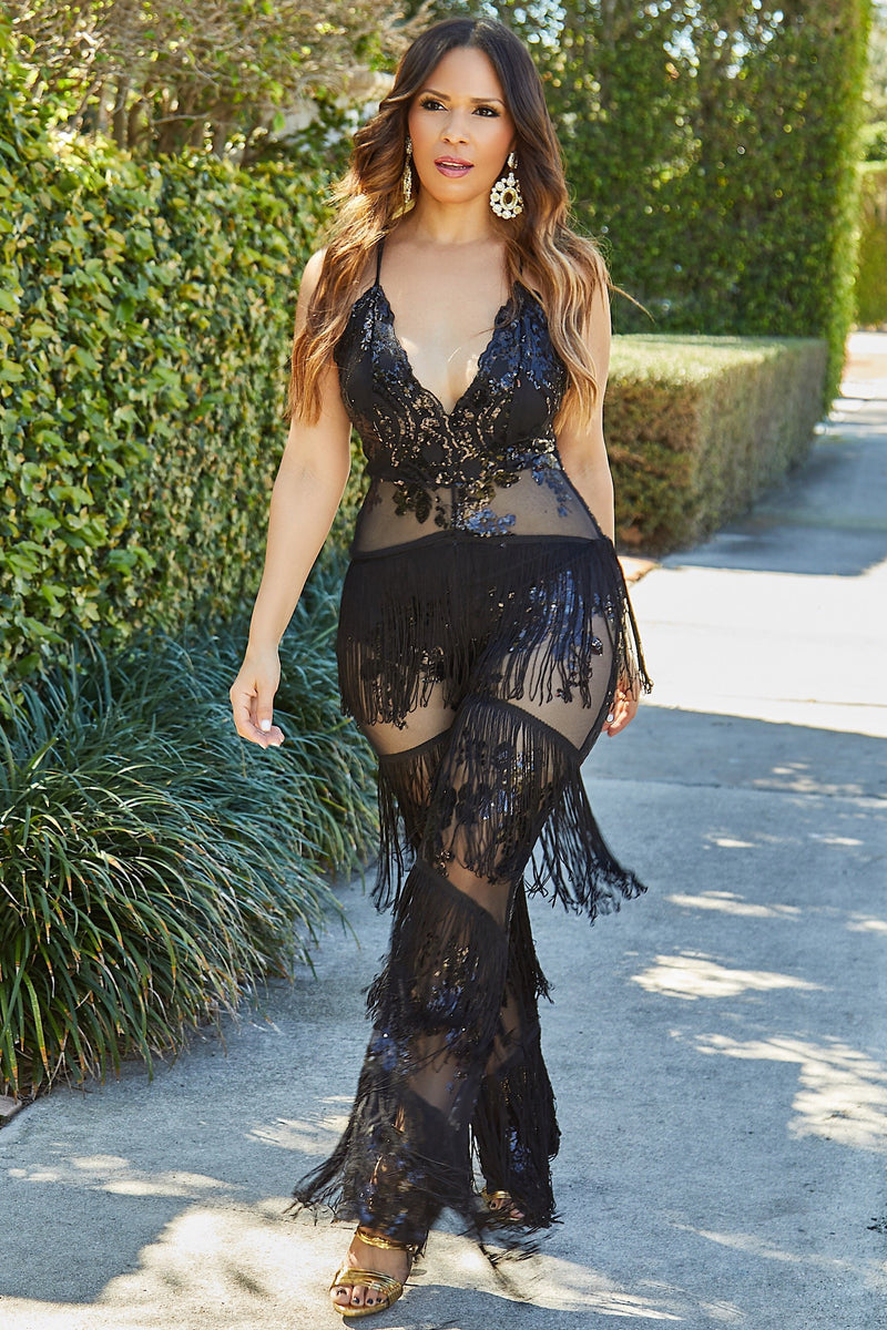 Bekka Sequins Wide Leg Jumpsuit W/ Leg Tassels In Black - MY SEXY STYLES