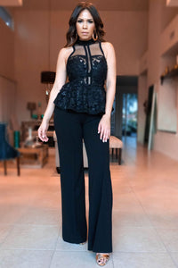 Bellance Elegant Black Sequined Flower Mesh Peplum Jumpsuit - MY SEXY STYLES