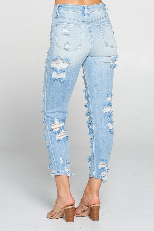 Amalia Heavily Destructed Girlfriend Jeans