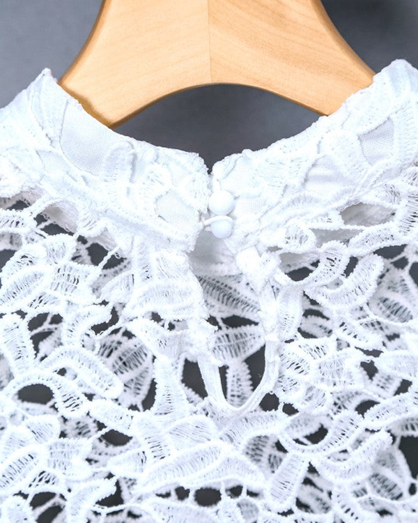 Lyla White Crochet Lace Hollow Out Long Sleeve Sexy High Low Blouse