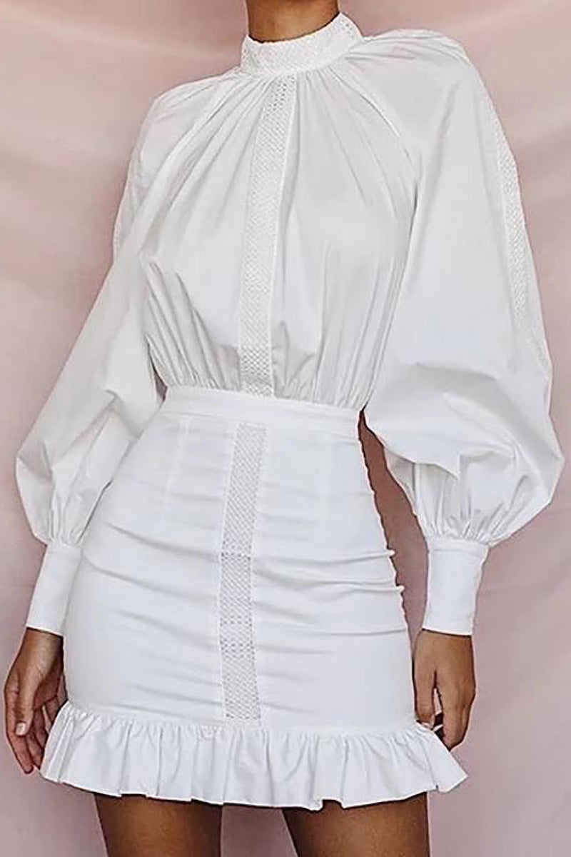 Iris Mock Neck Lantern Long Sleeves White Mini Dress