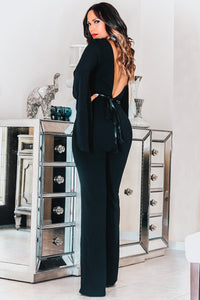 Nora Long Sleeved Cross Straps V-Neck Jumpsuit