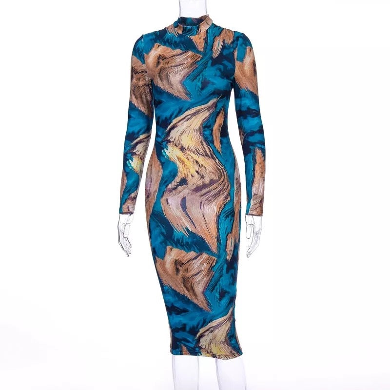 Amira Multicolor Print Mock Neck Long Sleeves Sexy Midi Dress