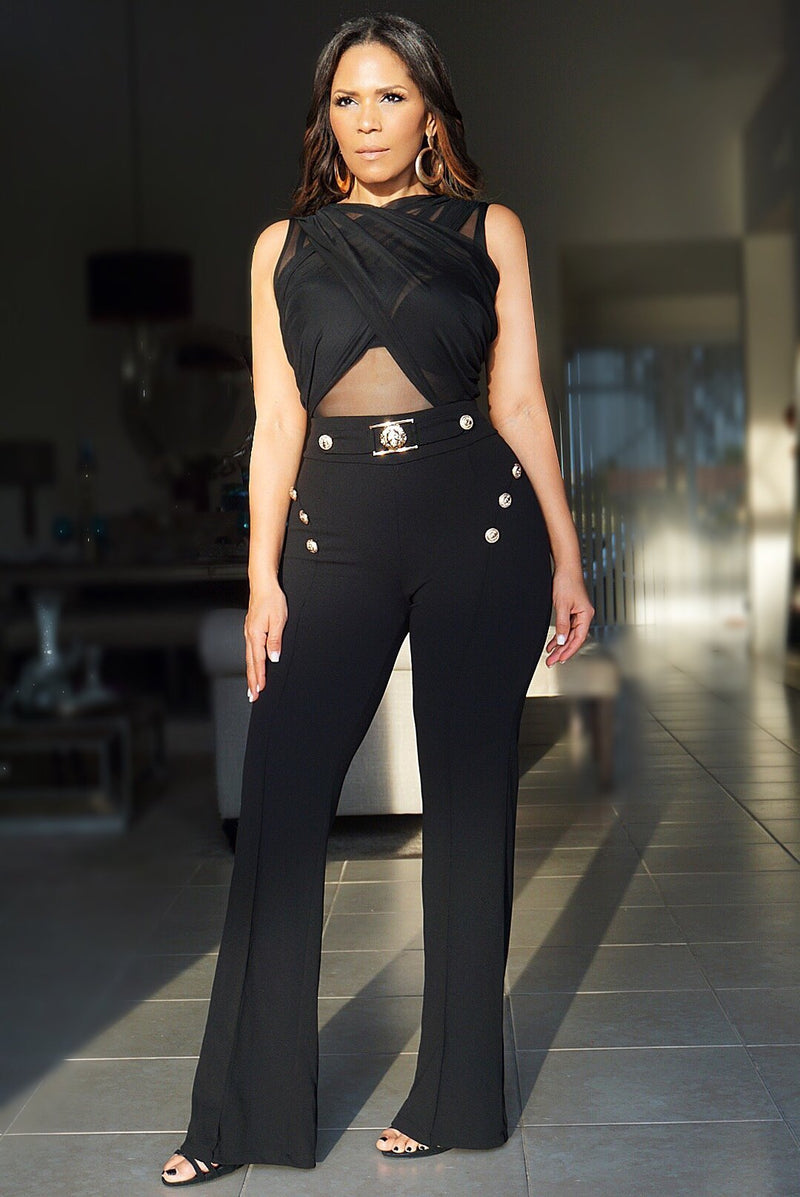 Zoey Lion Buckle High Waist Pants W/ Gold Button Details - Black