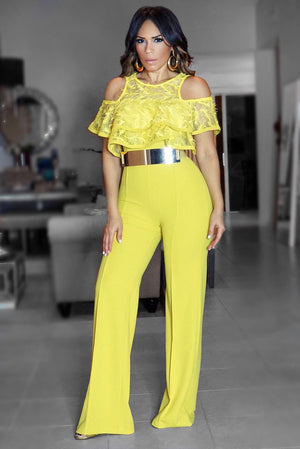 Anna Mustard Lace Cold Shoulder Detail Jumpsuit - MY SEXY STYLES