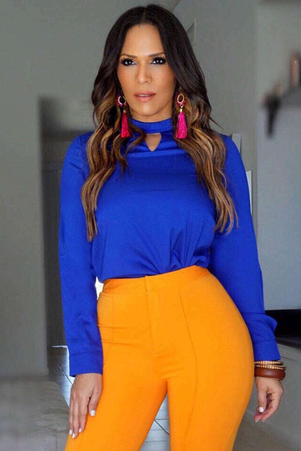 Aaliyah Royal Blue Long Sleeves Keyhole Neckline Blouse - MY SEXY STYLES