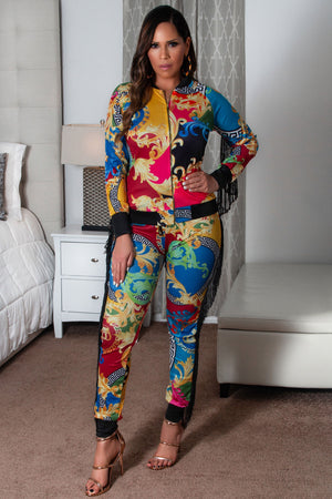 Abby Baroque Multicolor Print Tassel Long Sleeves Blouse and Pants 2 Piece Set