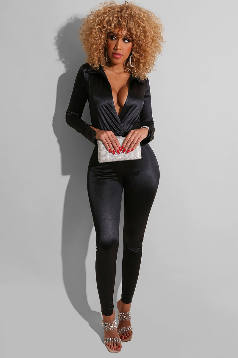 Abigail Collar Deep V Neck Long Sleeves Bodysuit and Pants Set