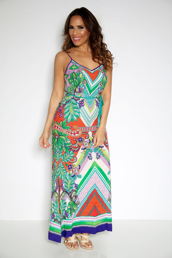 Abstract Floral Print V-Neck Sexy Maxi Dress - MY SEXY STYLES