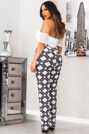 Adelaide Ivory Black Off The Shoulder Floral Crochet Lace Top Print Bottom Jumpsuit - MY SEXY STYLES