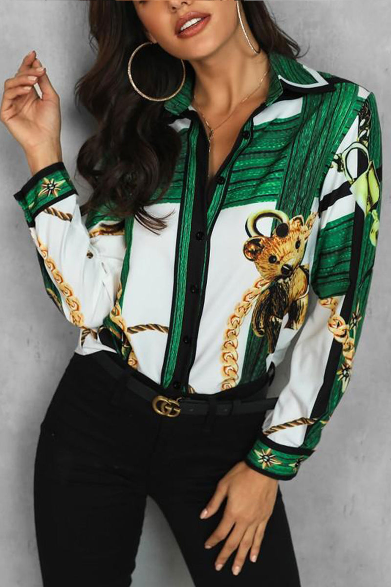 Adele Chain Print Green Long Sleeve Button Down Shirt - MY SEXY STYLES