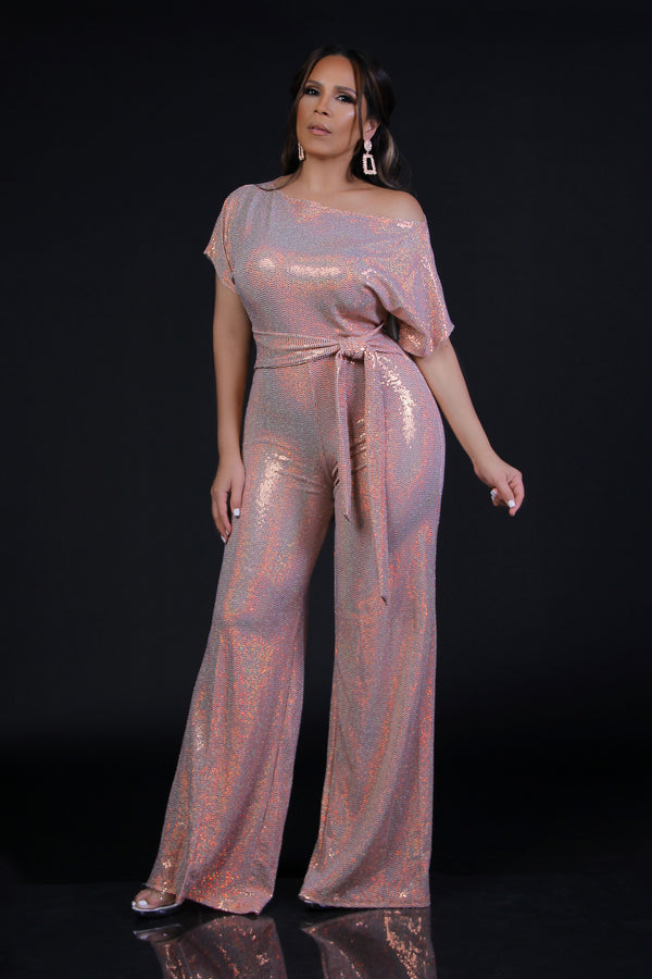 Adella One Shoulder Off Metallic Blush Jumpsuit