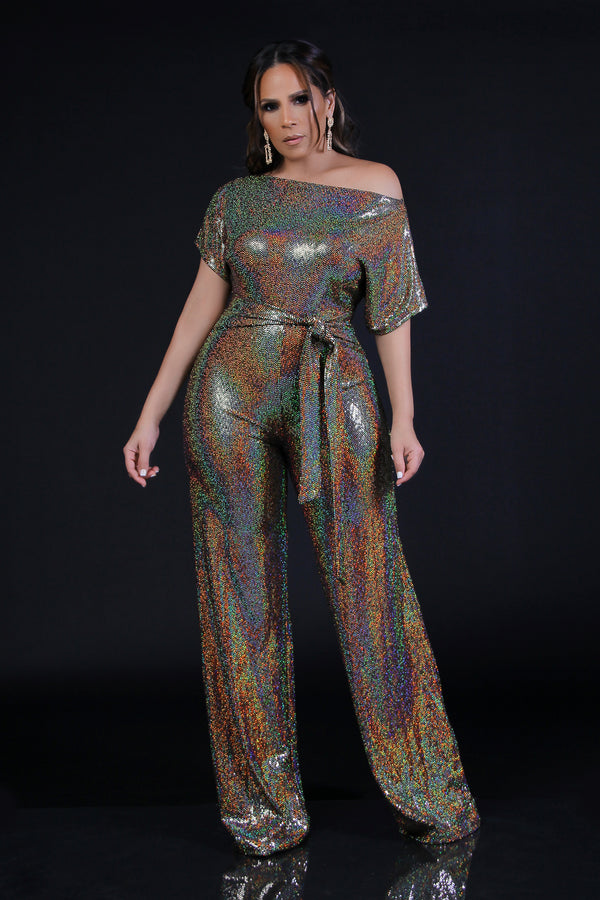 Adella One Shoulder Off Metallic Jumpsuit