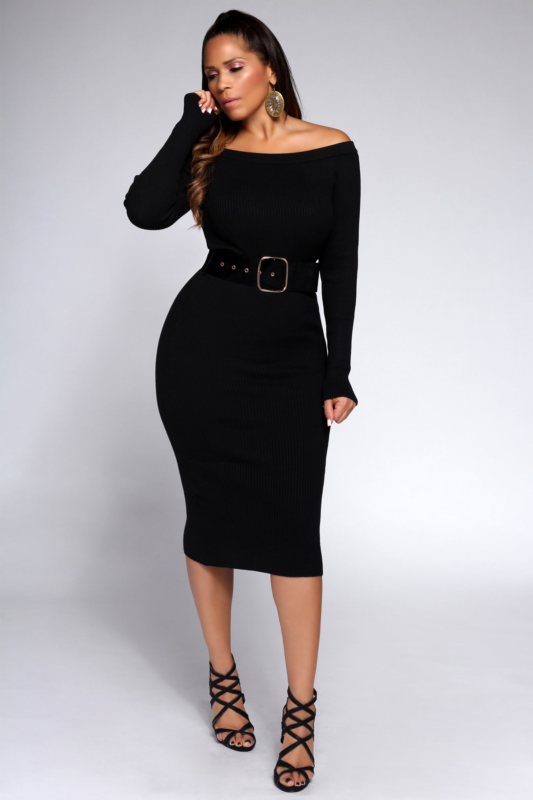 ce1c79dcf2 Agata Belted Off the Shoulders Ribbed Long Sleeves Midi Dress in Black - MY  SEXY STYLES