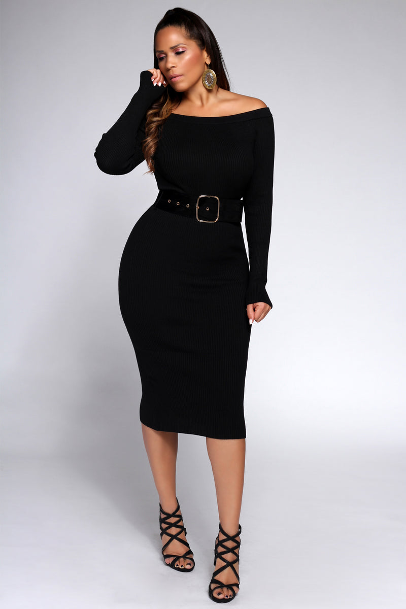 Agata Belted Off the Shoulders Ribbed Long Sleeves Midi Dress in Black - MY SEXY STYLES