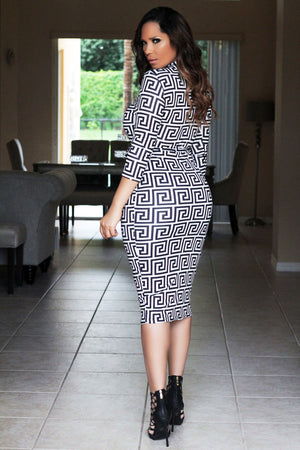 Alani Geometric Print Quarter Sleeves Bodycon Dress W/ Waist Tie