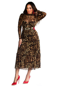 Alanna Mesh Long Sleeves Leopard Print Long Dress