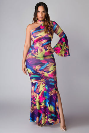 Alayah Multicolor Print Side Slit Bodycon Maxi Dress