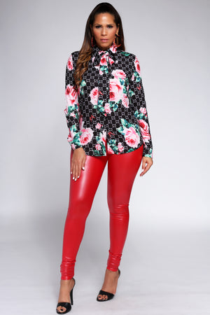 Aleksandra Floral GG Print Long Sleeve Button Down Shirt W/ Collar Tie - MY SEXY STYLES