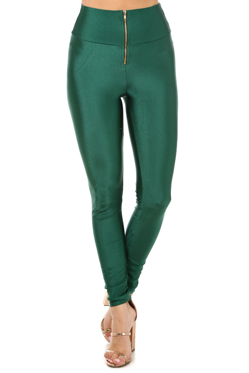 Alexa High Waist Front Zipper Leggings In Green