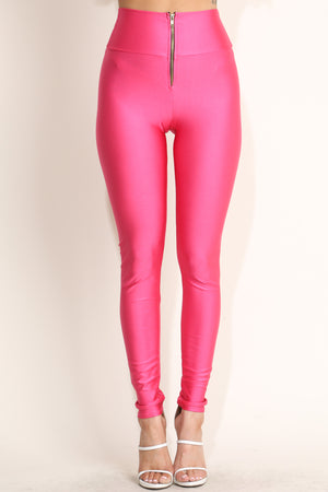 Alexa High Waist Front Zipper Leggings In Pink