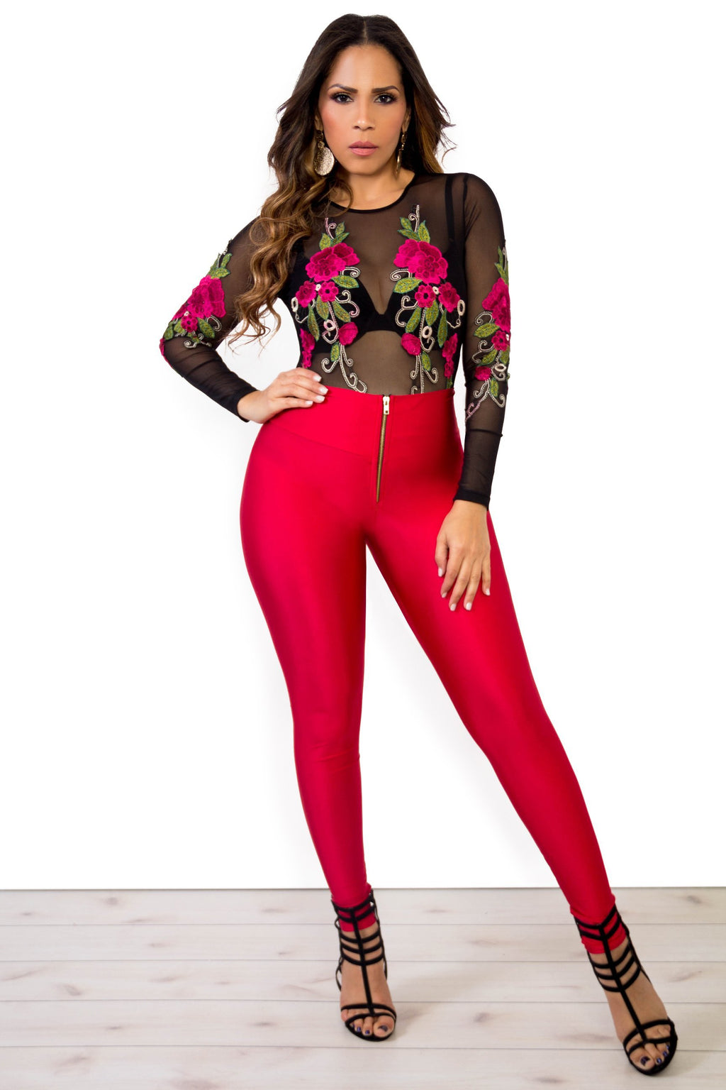 Alexa High Waist Front Zipper Leggings In Red - MY SEXY STYLES
