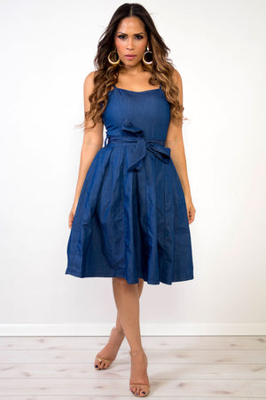 Alora Chic Denim Pleated Skirt and Waist Tie Midi Dress - MY SEXY STYLES