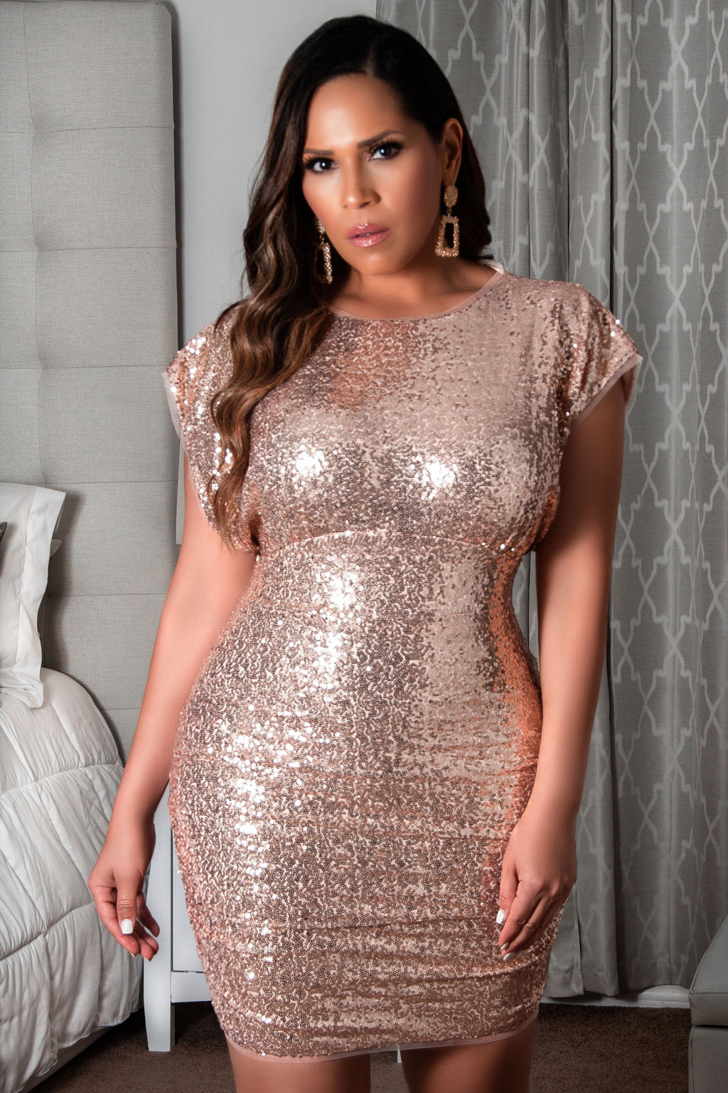 Amber Short Sleeve Ruched Rose Gold Sequin Pencil Mini Dress