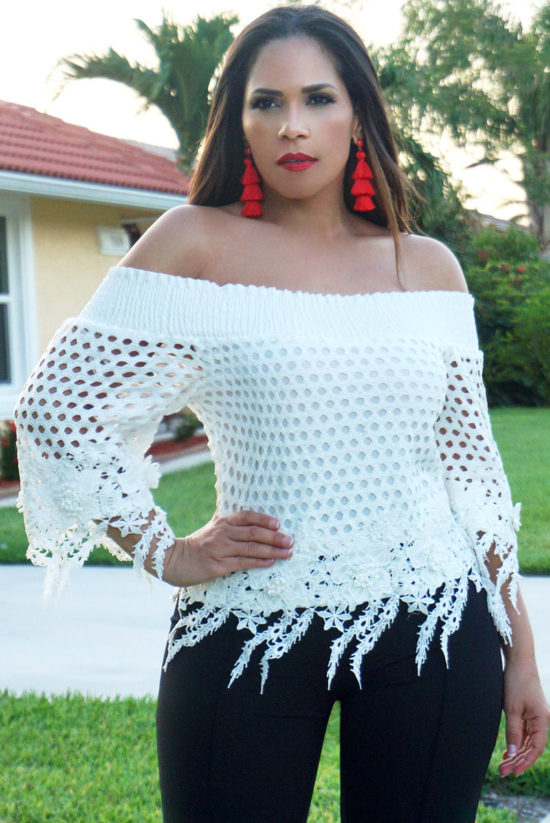 Amelia Boutique Ivory Crochet Lace Blouse - MY SEXY STYLES