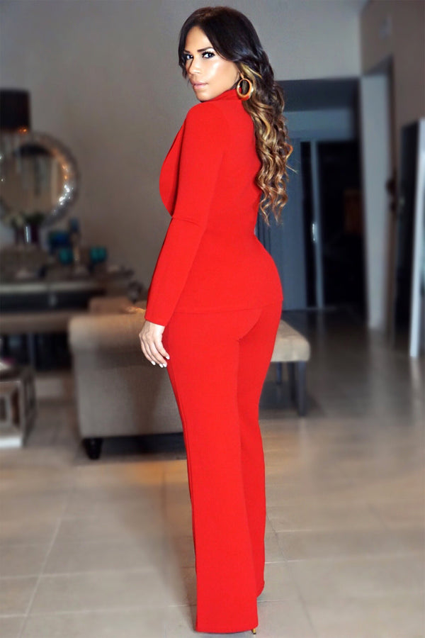 Amelia Red Two Piece Bossed Up Blazer Suit