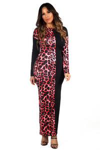 Angelica Bodycon Long Sleeves Leopard Colorblock Maxi Dress with Pockets