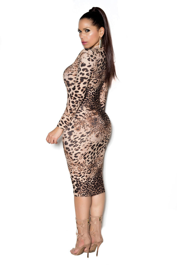 Animal Print Long Sleeve High Neck Midi Bodycon Dress - MY SEXY STYLES  - 4