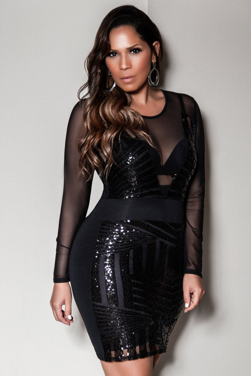 Ann Sexy Black Sequin Mesh Splice Long Sleeves Clubbing Party Mini Dress