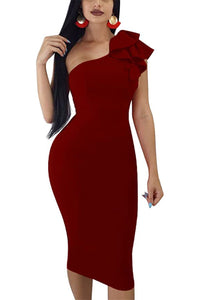 Annie Sexy Ruffle One Shoulder Bodycon PartyMidi Dress